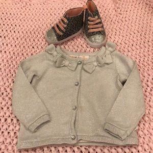 6 month Shimmery silver cardigan